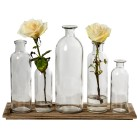 Wood Tray & Glass Bottles
