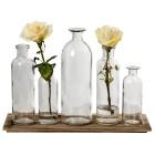 Wood Tray & Glass Bottles